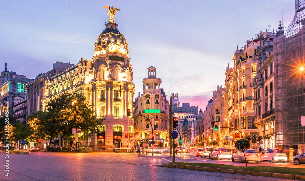 Fototapeta Madrid city skyline gran via street twilight , Spain