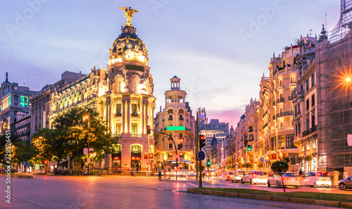Staande foto Madrid Madrid city skyline gran via street twilight , Spain