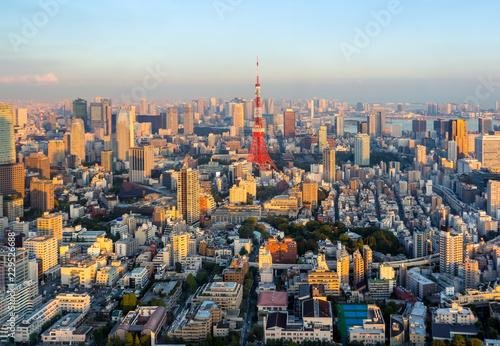 Poster Tokyo Tokyo city skyline at sunset , Japan