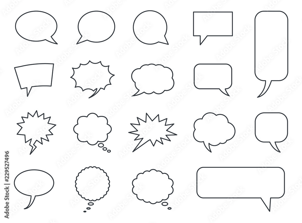 Fototapety, obrazy: speech bubble icons vector set, comic dialog clouds