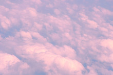 Pink Clouds, View From Airplane. Awesome, Fabulous Abstract Background.