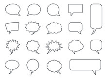 Speech Bubble Icons Vector Set, Comic Dialog Clouds