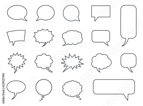 speech bubble icons vector set, comic dialog clouds Fototapet