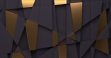 Abstract background with black and gold geometric shapes. 3D render - 229528062