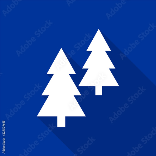 Fotomural White coniferous trees icons with long shadow on blue background