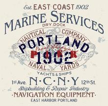 Portland Shipyard Marine Service Vintage Vector Print For T Shirt Sweatshirt Fleece