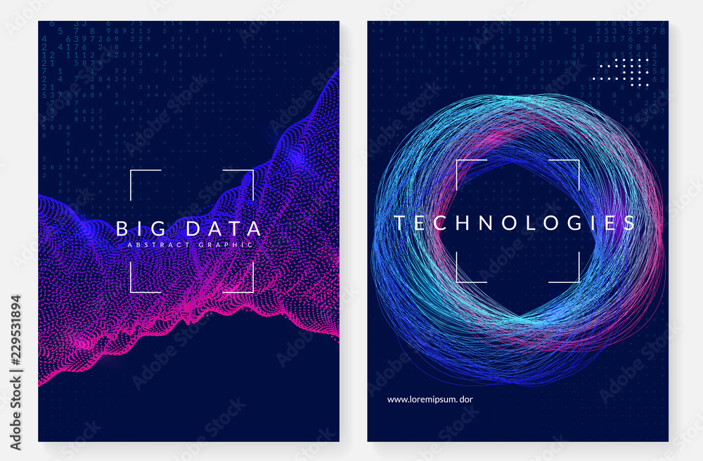 Fototapety, obrazy: Visualization background. Technology for big data, artificial intelligence, deep learning and quantum computing. Design template for server concept. Geometric visualization backdrop.