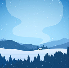 Vector Illustration: Winter Cartoon Snowy Mountains Landscape With Forest, House And Smoke From Chimney