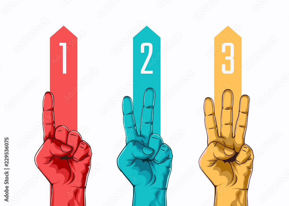Fototapeta Set of counting one two three hand sign. Three steps or options concept. Vector illustration