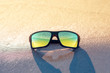sunglasses on the beach in summer at the resort