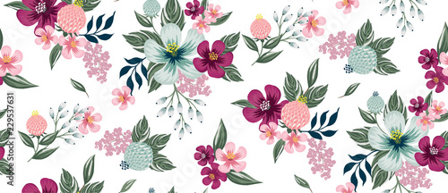 Valokuvatapetti Vector illustration of a seamless floral pattern in spring for Wedding, anniversary, birthday and party