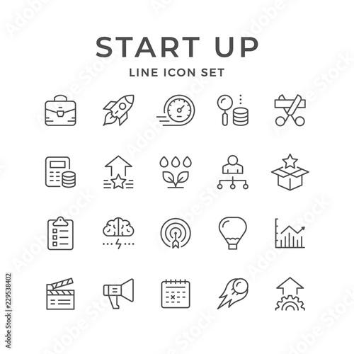 Set line icons of start up Fototapet