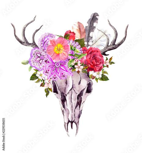 Printed kitchen splashbacks Watercolor Skull Deer animal skull with flowers, ornate ethnic design, feathers. Watercolor in vintage style