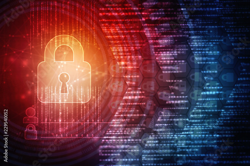 Photo  2d illustration Safety concept: Closed Padlock on digital background