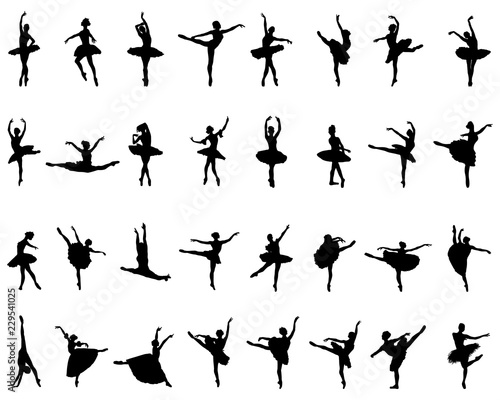 Canvastavla Black silhouettes of ballerinas on white background, vector