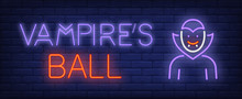 Vampire Ball Neon Text With Dr...