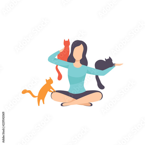Fototapeta Young woman sitting on the floor surrounded by cats, adorable pets and their owner vector Illustration on a white background obraz na płótnie