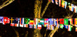 Leinwanddruck Bild flags with night sky