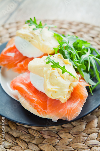 Eggs Benedict with Smoked Salmon on English Muffin .
