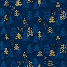 Elegant Seamless Pattern Of Decorative Christmas Trees