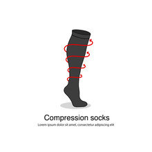Compression Socks Graphic Icon With Infographic Red Arrows