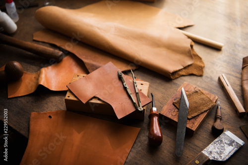 Valokuva  Leather craft or leather working