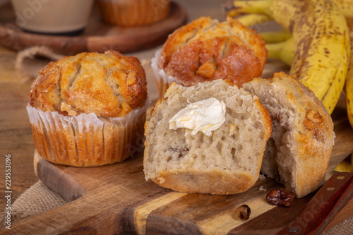 Banana Nut Muffin Cut in Half Wallpaper Mural