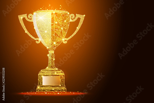 Fotomural Low poly illustration of the winner cup a golden dust effect, with space for you