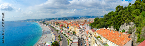 Beautiful panoramic view from above on sea and Promenade des Anglais, Nice, France