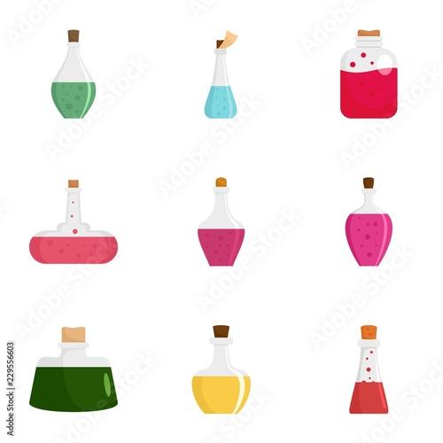 Fototapeta Elixir potion icon set. Flat set of 9 elixir potion vector icons for web design obraz