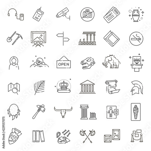 Photo museum icons set. museum exhibits collection. Thin line design