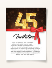 Wedding Invitation Card Template To The Day Of The Forty-five Anniversary With Abstract Text Vector Illustration. Invite To 45 Th Years Eve Jubilee