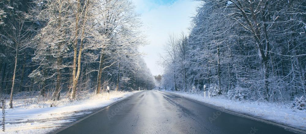 Winter road landscape.