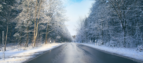 Winter road landscape.