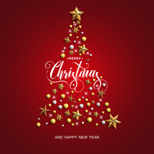Happy New Year And Merry Christmas. Christmas Tree With Gold Stars On The Red Background. Vector Illustration.