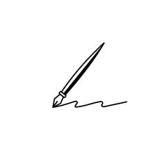 Ink Fountain Black Pen Tool Vector Icon