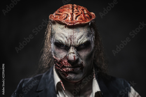 Scary zombie prostheric makeup on male model Canvas Print