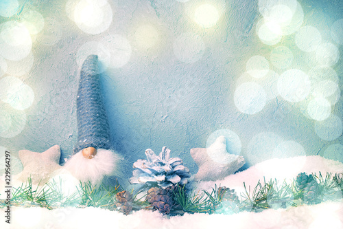 Recess Fitting Fantasy Landscape Little Christmas Gnome in magic winter landscape