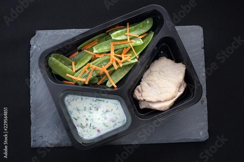 Potrawa obiadowa w diecie pudełkowej. Kurczak w ziołach z sosem jogurtowym z zieloną sałatką