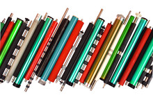 Parts Of Old Laser Printers, Isolated On White Background. Photosensitive Drums, Rubber And Metal Shafts And Rollers.