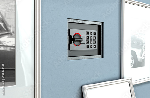 Hidden Closed Wall Safe Behind Picture Buy This Stock Photo And