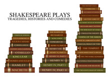 Stack Of Books - Shakespeare Plays - Tragedies, Histories And Comedies