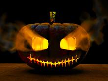 Zucca Di Halloween Appoggiata Su Un Tavolo Di Legno, 3d Rendering