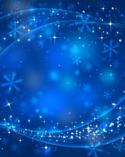 Abstract Blue Winter Background, Christmas Decoration