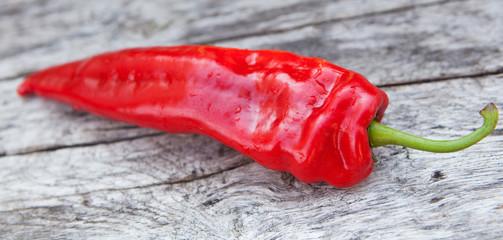 Fototapeta piment rouge sur fond de bois nature