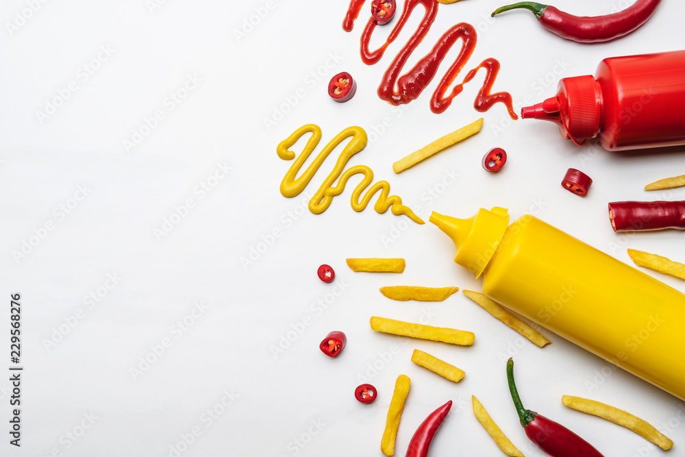Fototapety, obrazy: top view of french fries with mustard and ketchup on white surface