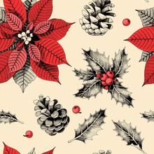 Seamless Pattern With Holly Le...