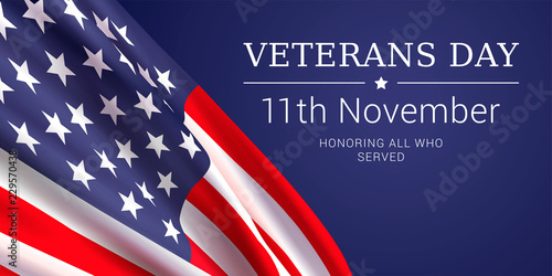 Fototapeta 11th november - Veterans Day. Honoring all who served. Vector banner design template with american flag and text on dark blue background. obraz