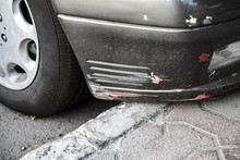 Damaged Front Car Bumper With ...