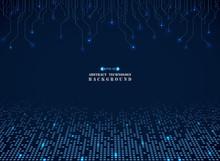 Futuristic Techonology Of Blue Square Electronics Pattern Background.